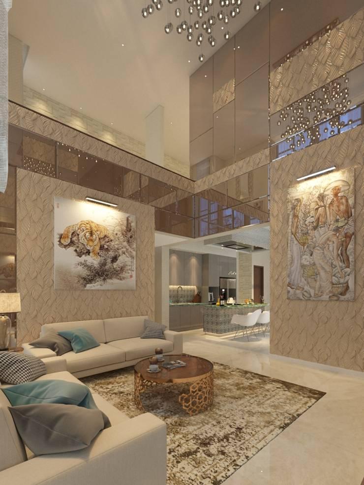 PRIVATE RESIDENTIAL @ NAVAPARK, BSD CITY, TANGERANG:  Ruang Keluarga by PT. Dekorasi Hunian Indonesia (DHI)