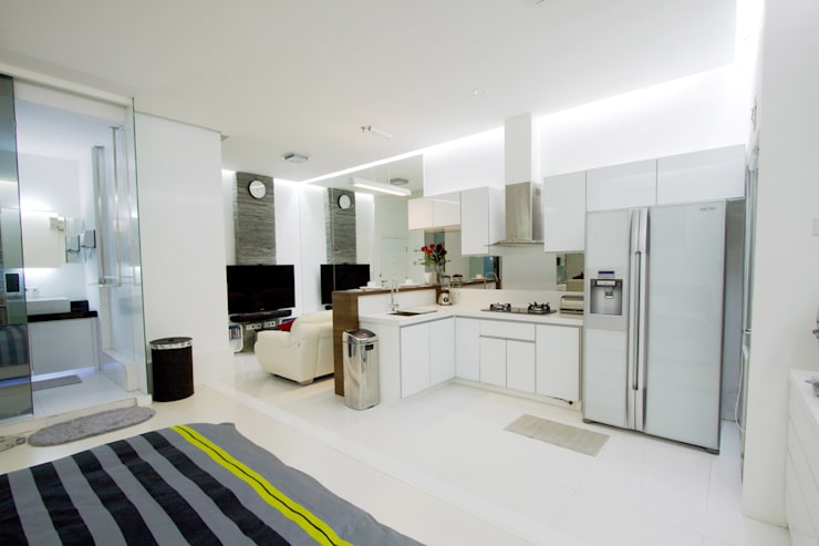 LIVING THE OPEN PLAN APARTMENT @ SEASON CITY, WEST JAKARTA:  Dapur by PT. Dekorasi Hunian Indonesia (DHI)