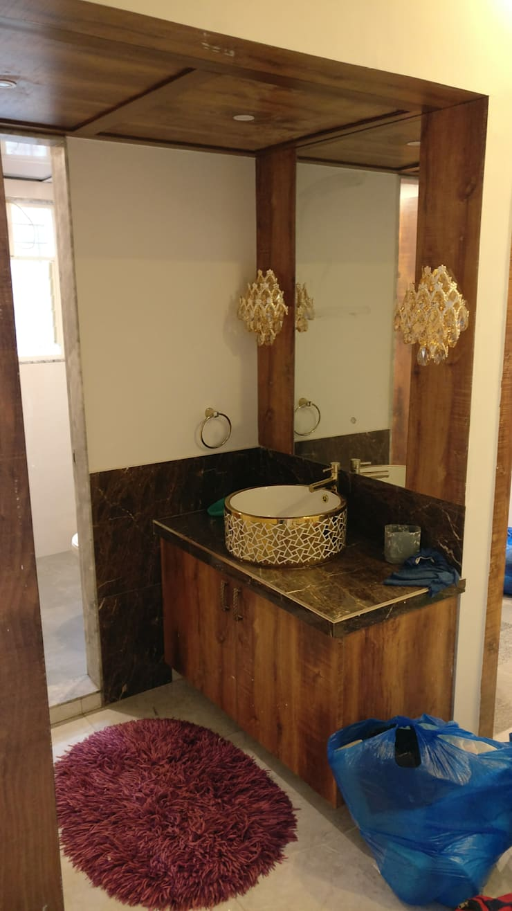 Wash Basin Unit at Mystique Moods, Viman Nagar, Pune:  Corridor & hallway by Umbrella Tree Designs