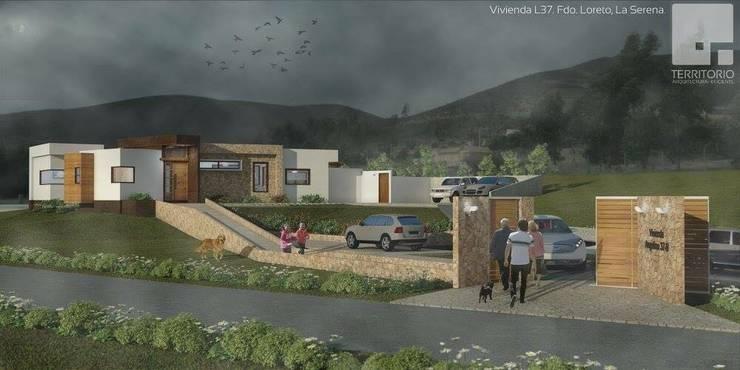 Render Vivienda Premium 115m2 Fundo Loreto.:  de estilo  por Territorio Arquitectura y Construccion - La Serena