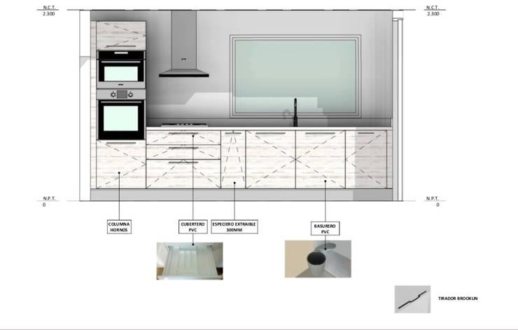 Vivienda Premium 115m2 Fundo Loreto.: Muebles de cocinas de estilo  por Territorio Arquitectura y Construccion - La Serena