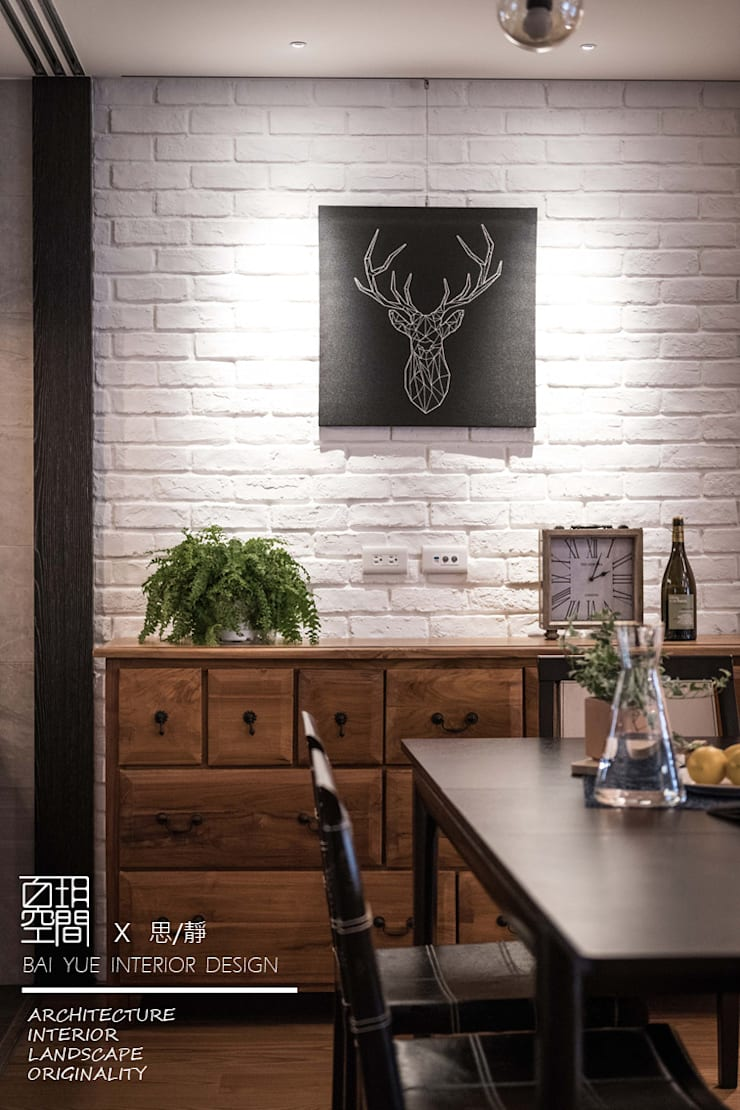 百玥空間設計 ─ 思/靜 ─ 餐廳牆面:  牆面 by 百玥空間設計