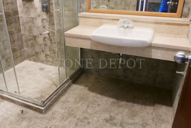 Crema Marfil Marble Vanity Top at Cebu Westown Lagoon: modern Bathroom by Stone Depot