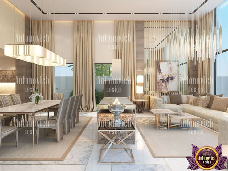 ​Luxury home design and decor by Katrina Antonovich:  Living room by Luxury Antonovich Design, Modern