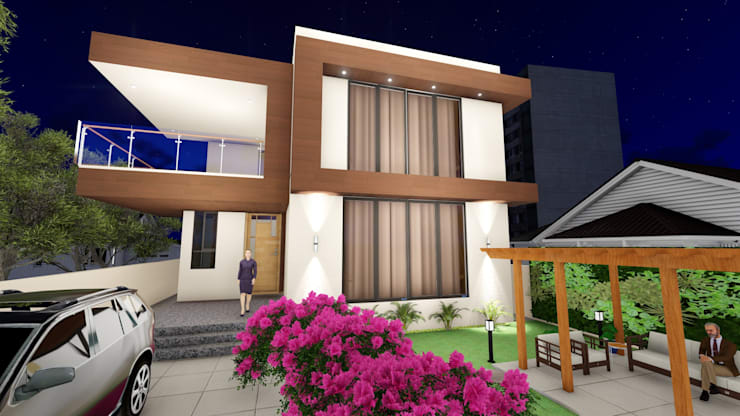 3D Elevation:  Bungalows by Cfolios Design And Construction Solutions Pvt Ltd,Modern