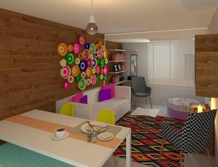 Salas multimedias de estilo  por Perfil Arquitectónico