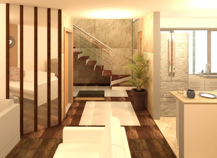 Pasillos y hall de entrada de estilo  por Perfil Arquitectónico