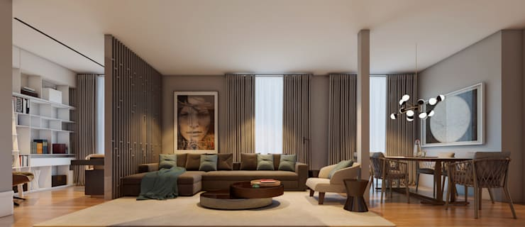 Apartamento em Budapeste: Sala de estar  por CASA MARQUES INTERIORES