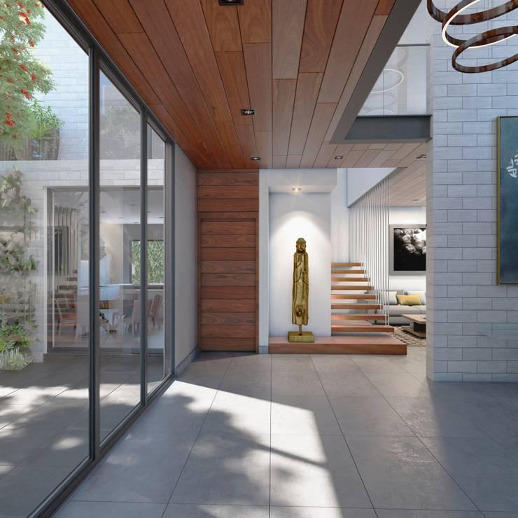 Vista Escaleras Principales: Escaleras de estilo  por Fi Arquitectos
