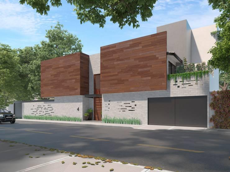 Vista Fachada Principal: Casas unifamiliares de estilo  por Fi Arquitectos