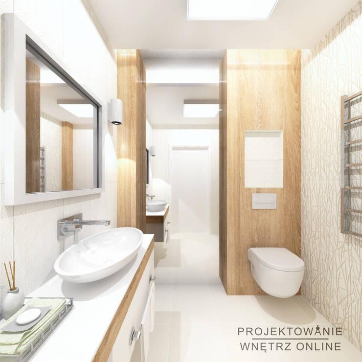 Projekt łazienki Drewno I Biel من تنفيذ Projektowanie