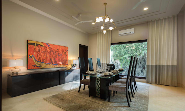 Luxurious Home Lighting Project in Delhi:  Dining room by Jainsons Emporio