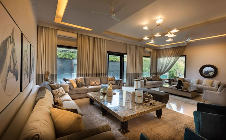 Luxurious Home Lighting Project in Delhi:  Living room by Jainsons Emporio