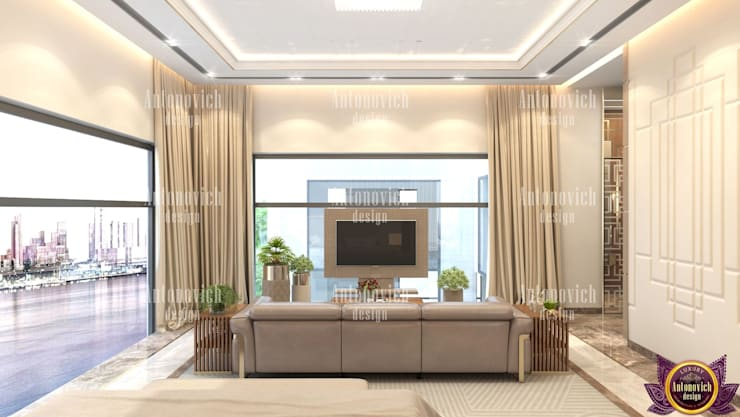 ​Great modern home designs by Katrina Antonovich:  Bedroom by Luxury Antonovich Design