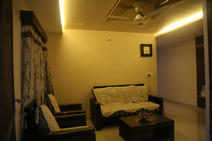 Mr. Gupta Kondapur Naani: modern Living room by Ghar Ek Sapna Interiors