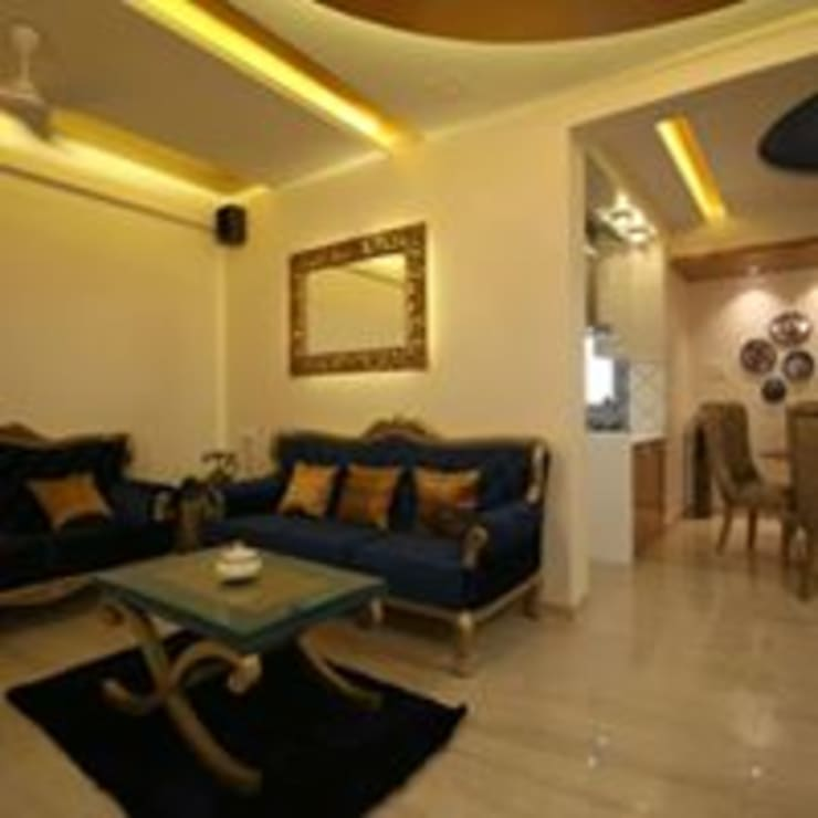 Mr.Santosh Singh And Mrs.Meenaxi Singh :  Living room by PSQUAREDESIGNS,Modern