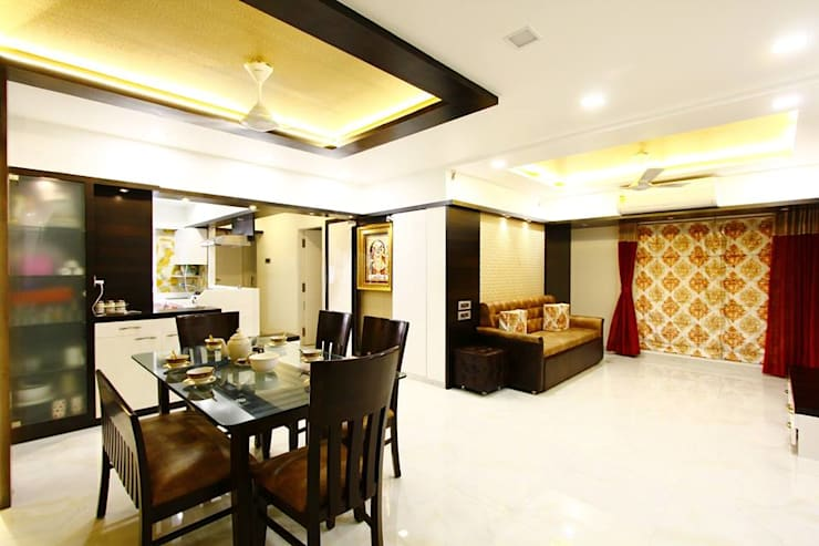 Mr.Ram & Mrs.Lajja Sanghvi:  Living room by PSQUAREDESIGNS