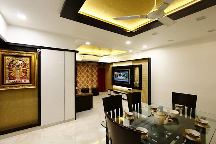 Mr.Ram & Mrs.Lajja Sanghvi:  Dining room by PSQUAREDESIGNS