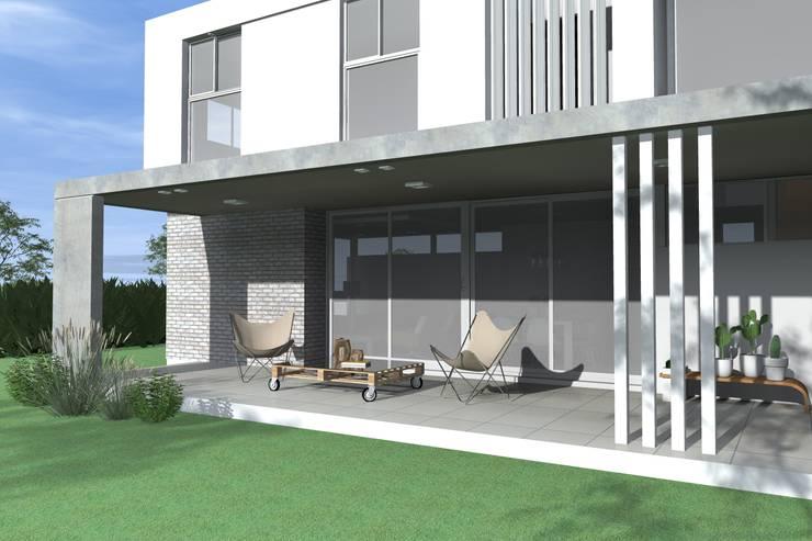 Galería semicubierta: Casas unifamiliares de estilo  por Arquitectura Bur Zurita,
