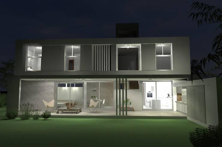 Fachada nocturna: Casas unifamiliares de estilo  por Arquitectura Bur Zurita,