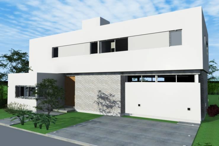 Fachada de frente: Casas unifamiliares de estilo  por Arquitectura Bur Zurita,