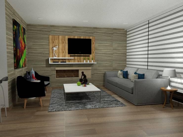 Sala multimedia de estilo  por Omar Interior Designer  Empresa de  Diseño Interior, remodelacion, Cocinas integrales, Decoración
