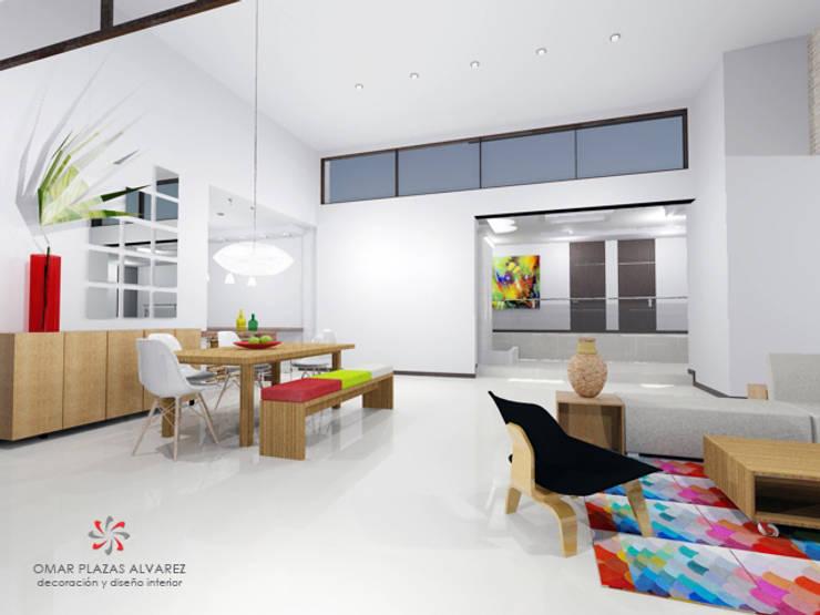 Vista sala y comedor moderno:  de estilo  por Omar Interior Designer  Empresa de  Diseño Interior, remodelacion, Cocinas integrales, Decoración