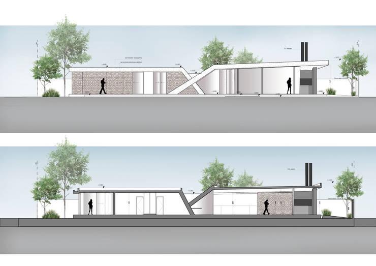 Vista de fachada completa: Casas de estilo moderno por síncresis arquitectos