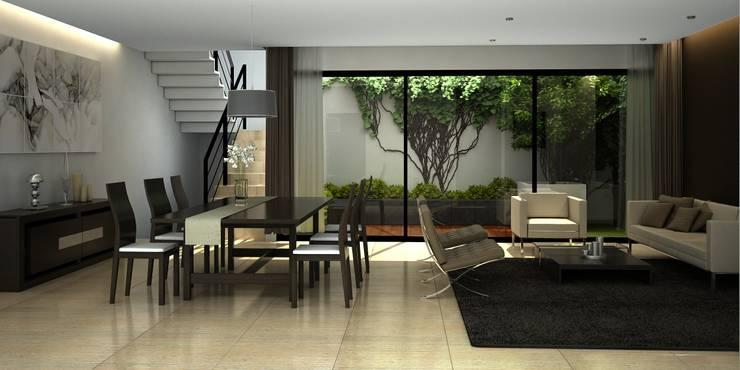 Vista Sala y Comedor: Salas de estilo  por Fi Arquitectos