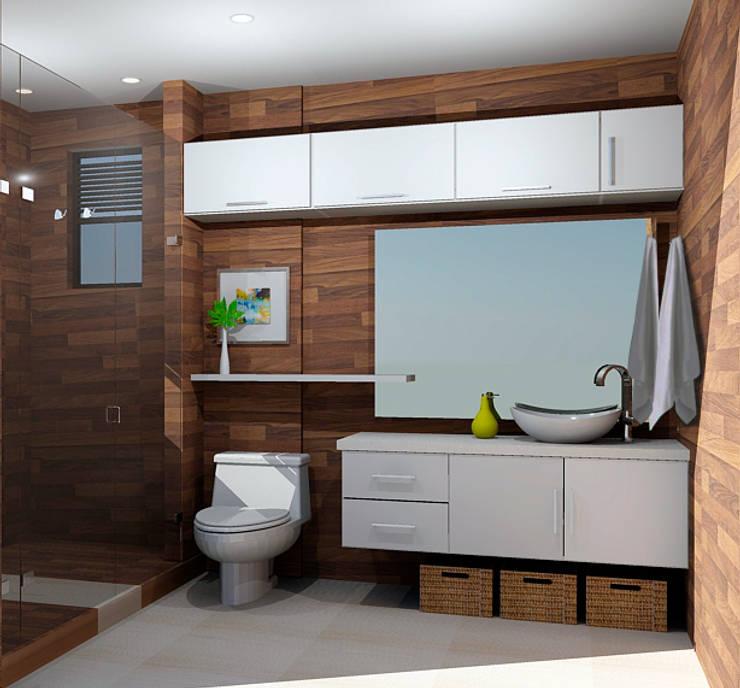 propuesta baño: Baños de estilo moderno por Omar Interior Designer  Empresa de  Diseño Interior, remodelacion, Cocinas integrales, Decoración