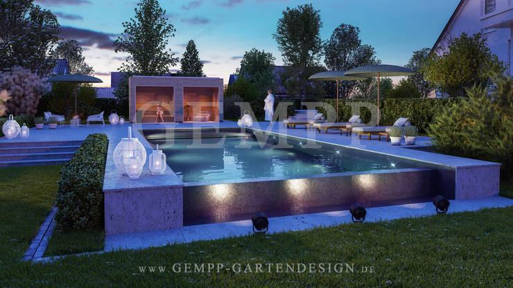 moderne gartengestaltung mit pool gartensauna und. Black Bedroom Furniture Sets. Home Design Ideas
