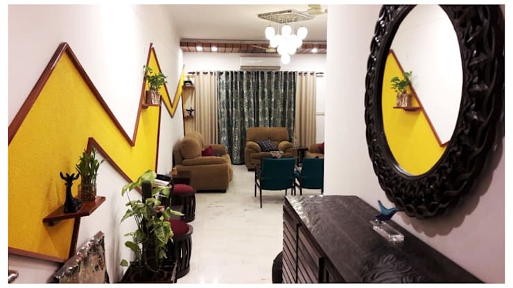 Apartment | Greater Noida:  Living room by Inno[NATIVE] Design Collective,Modern