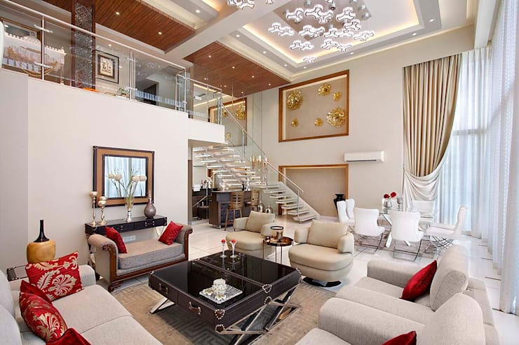 Sand Dunes Pent House : modern Living room by Mahesh Punjabi Associates