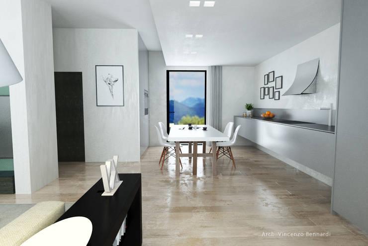 Villa a Schiera in Via Sandro Pertini Dicomano: Soggiorno in stile in stile Moderno di Studio Bennardi - Architettura & Design