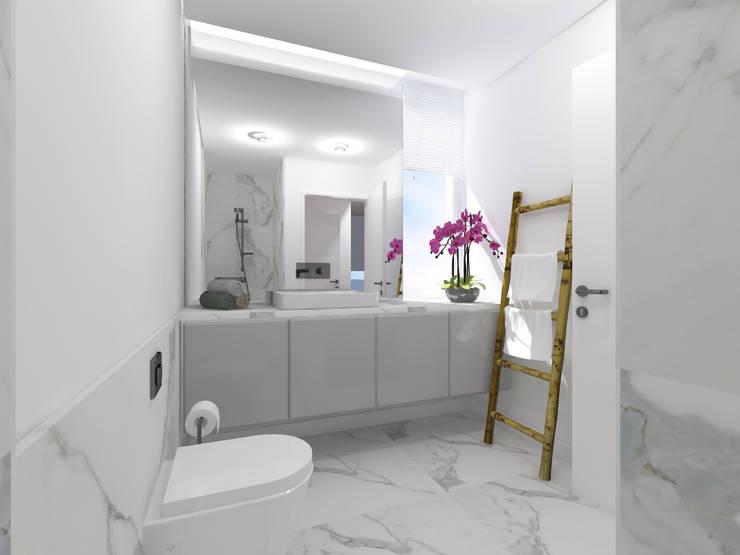 Moradia Unifamiliar  - Quinta da Beloura, Sintra: Casas de banho minimalistas por núcleo B arquitetos
