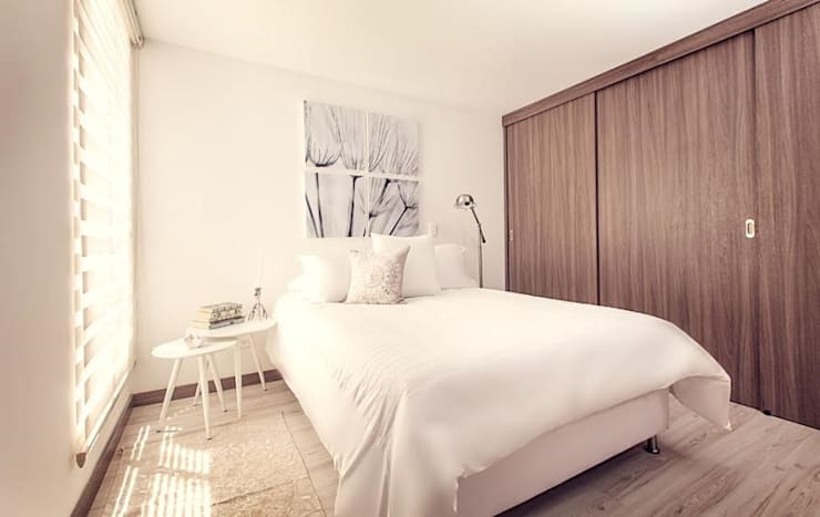 Habitacion ppal, natural y tranquila: Dormitorios de estilo  por Maria Mentira Studio