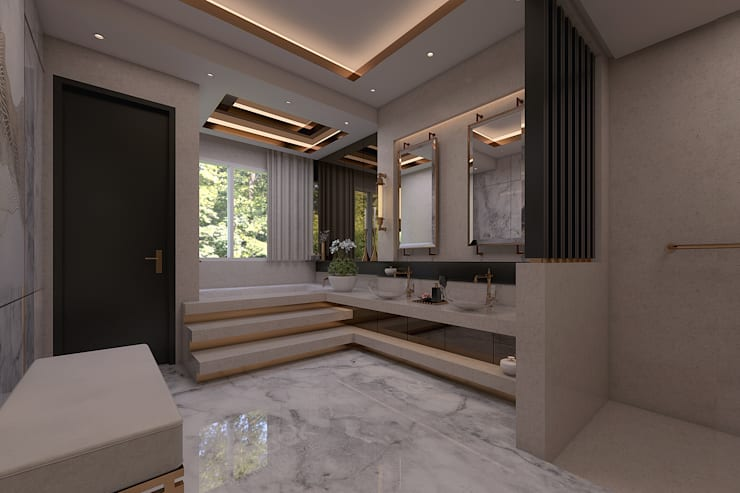 Luxury modern home :  Bathroom by Magna Mulia Mandiri