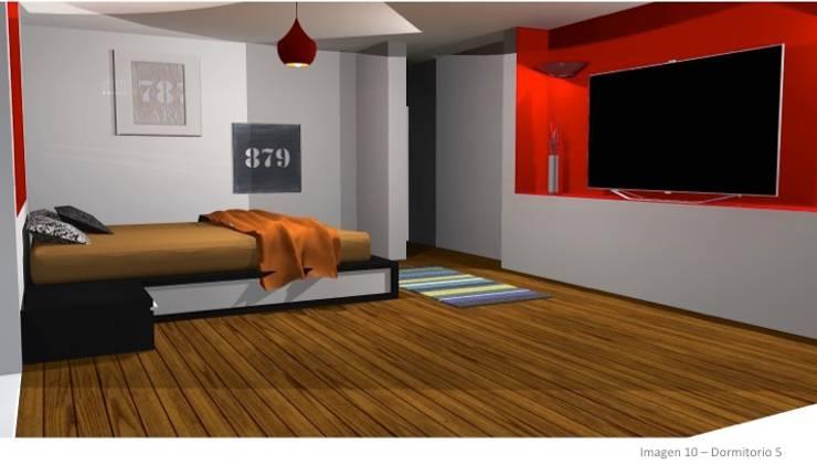 CASA ROSAS : Dormitorios de estilo  por Incubar: Arquitectura & Construcción
