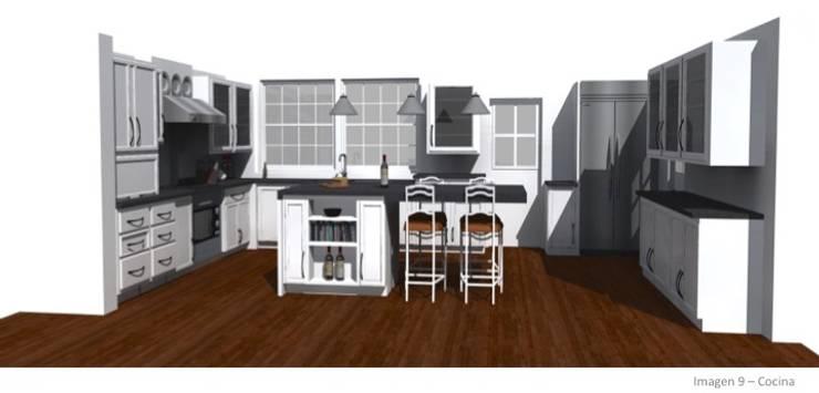 CASA ROSAS : Cocinas de estilo  por Incubar: Arquitectura & Construcción