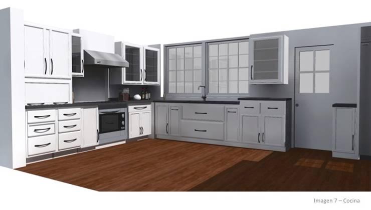CASA ROSAS : Cocinas equipadas de estilo  por Incubar: Arquitectura & Construcción