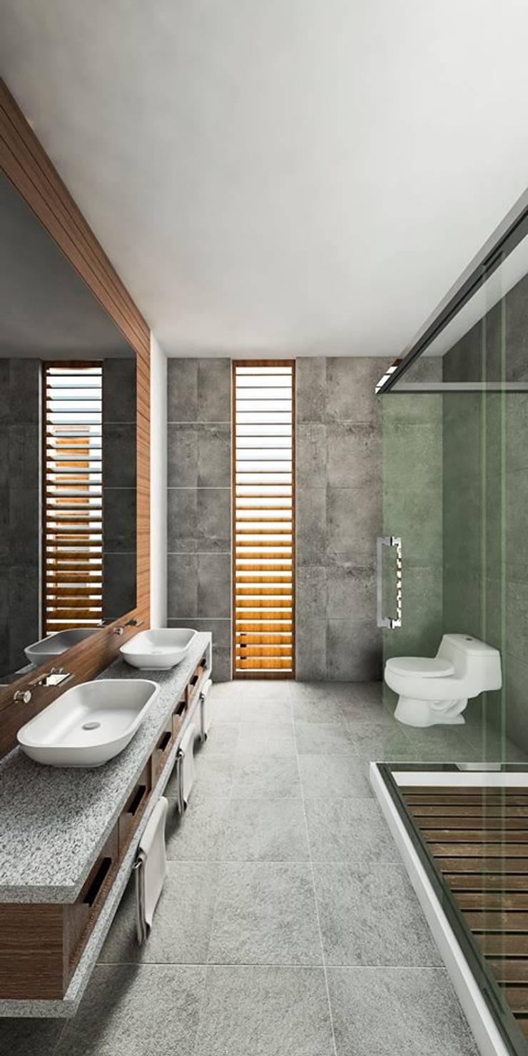 Propuesta diseño de Inreriores Casa de Playa en Zorritos- Tumbes: Baños de estilo  por Kiuva arquitectura y diseño,