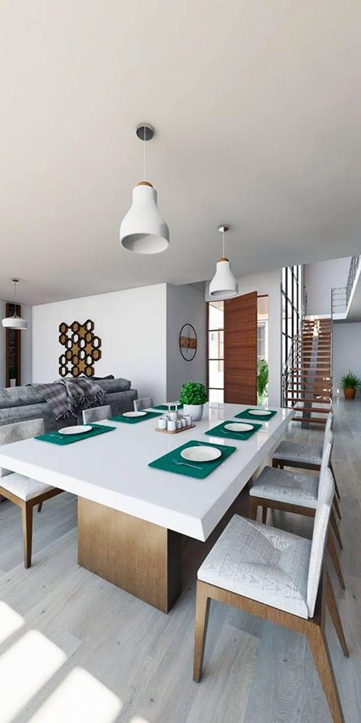 Propuesta diseño de Inreriores Casa de Playa en Zorritos- Tumbes: Comedores de estilo  por Kiuva arquitectura y diseño,