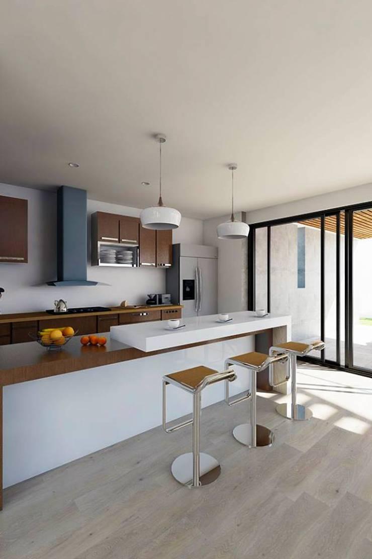 Propuesta diseño de Inreriores Casa de Playa en Zorritos- Tumbes: Cocinas equipadas de estilo  por Kiuva arquitectura y diseño,