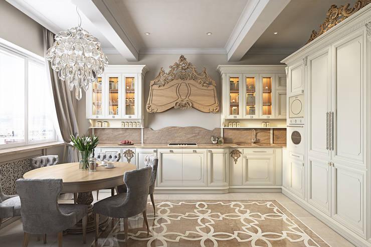 Квартира 130м2: Кухни в . Автор – Частный дизайнер интерьеров Наталья Круглова