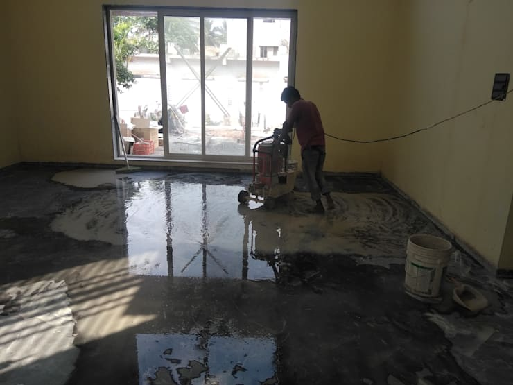 Marble polishing:  Floors by Cfolios Design And Construction Solutions Pvt Ltd,Modern Marble