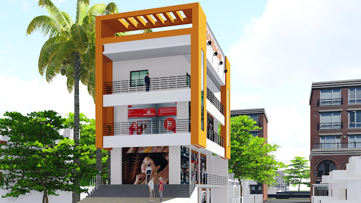 Isometric Elevation of the Building:   by Cfolios Design And Construction Solutions Pvt Ltd
