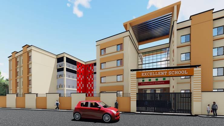 Excellent School 3D Elevation:   by Cfolios Design And Construction Solutions Pvt Ltd,