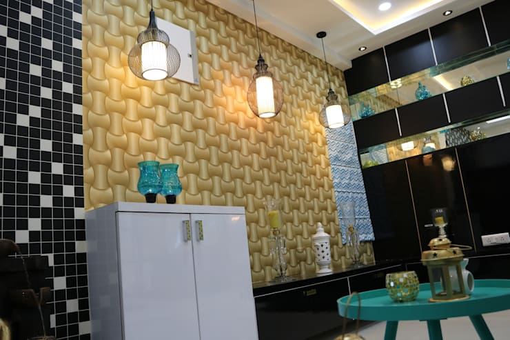 Puja Unit in Console Unit:  Living room by Enrich Interiors & Decors,Asian Plywood
