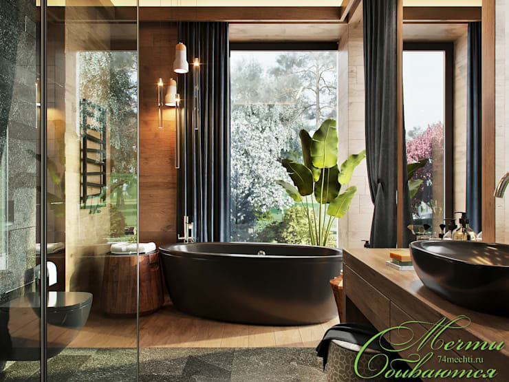 Спальня DE CHALET HOUSE: Ванные комнаты в . Автор – Компания архитекторов Латышевых 'Мечты сбываются'