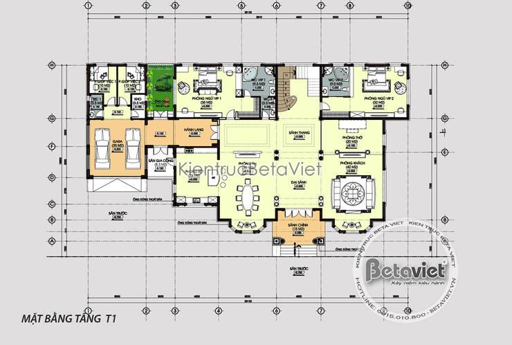 Mặt bằng tầng 1 mẫu biệt thự vườn Tân cổ điển châu Âu 2 tầng KT16094:   by Công Ty CP Kiến Trúc và Xây Dựng Betaviet
